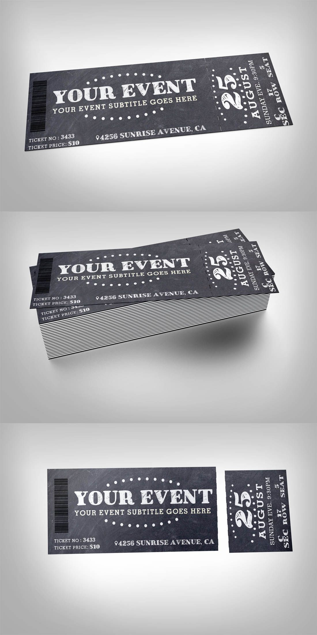 Chalkboard event ticket Template design Buy Now https