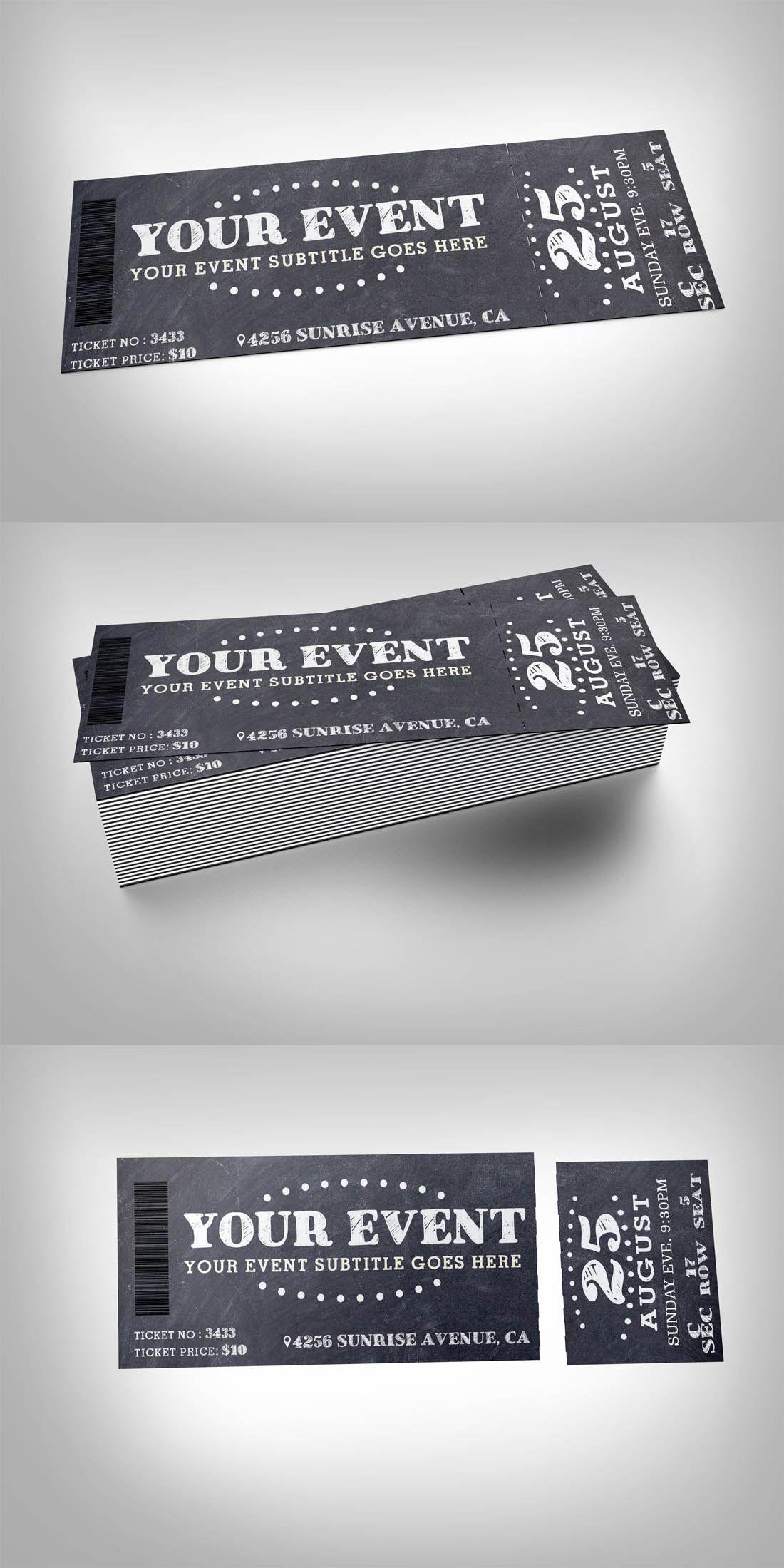 Chalkboard Event Ticket Template Design Buy Now Https Creativemarket Com Studioweb 339238 Chalkbo Event Tickets Design Ticket Design Ticket Design Template