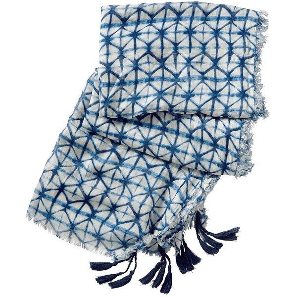 rockflowerpaper Lynx Tassel Wrap (£32) ❤ liked on Polyvore featuring accessories, scarves, indigo print, wrap shawl, tassel scarves, patterned scarves, travelsmith and print scarves