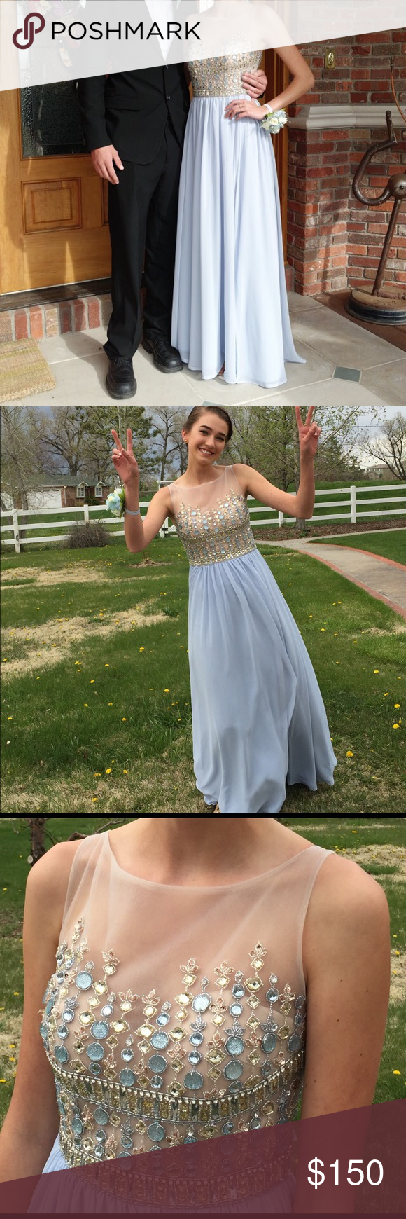 Promformal dress baby blue bodice and prom