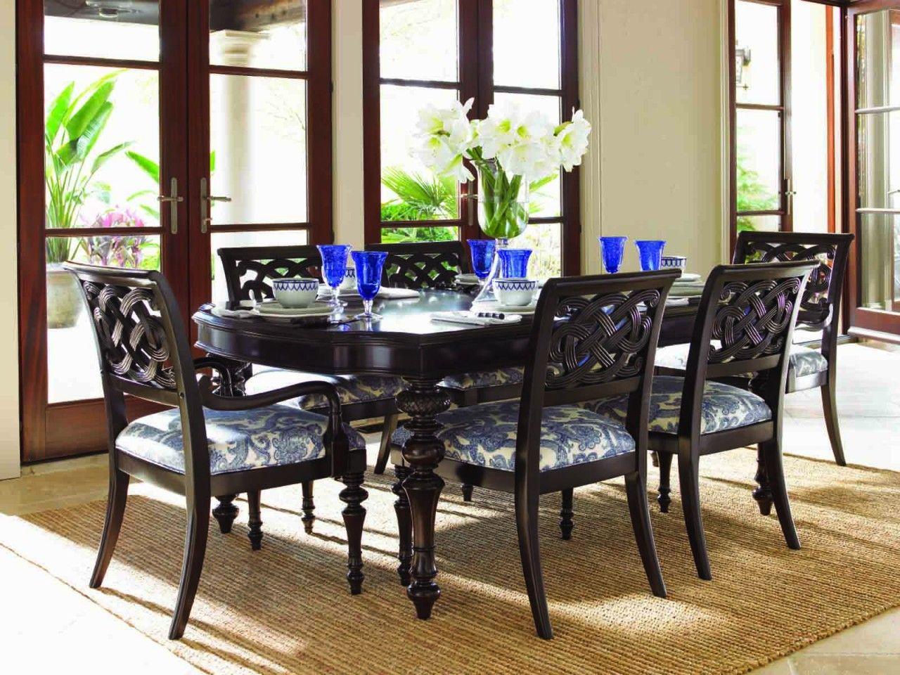Lexington Tommy Bahama Royal Kahala Islands Edge Dining Table Set