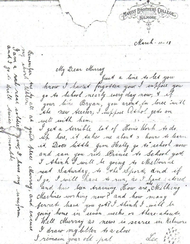 A letter from boarding school in Kilmore, 1918. The author