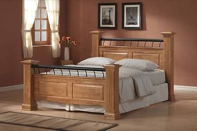 Rolo 4ft6 Double 5ft Kingsize Wooden Bed Chunky Posts Oak White In