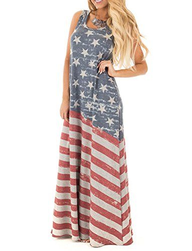 2017 New Cheap American Independence Day Racerback Dress Long Dress Maxi Party Dress independence day outfit L
