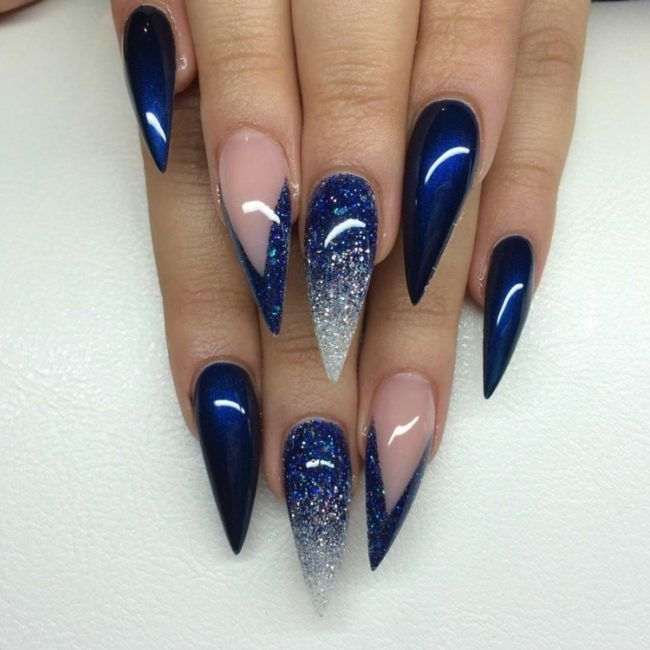 Stiletto Nails Dunkelblau Glanzend French Spitz Glitzer Lang Ombre