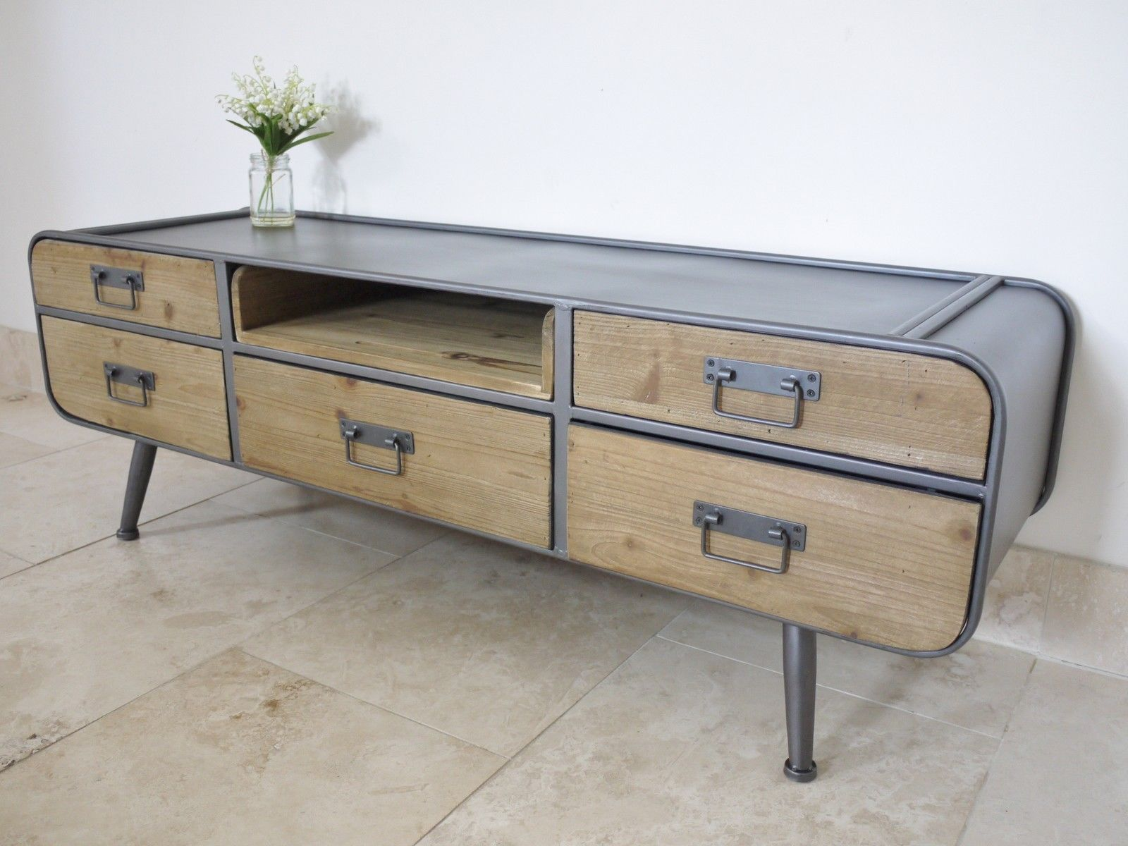 Details About Vintage Industrial TV Media Stand Retro Urban Media Tv Bench  Cabinet