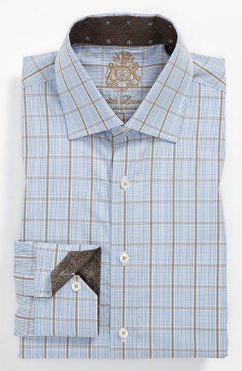 English Laundry Trim Fit Dress Shirt Blue Brown Checkered Nordstrom Slim Fit Mens Shirts Mens Shirt Dress Shirt Dress