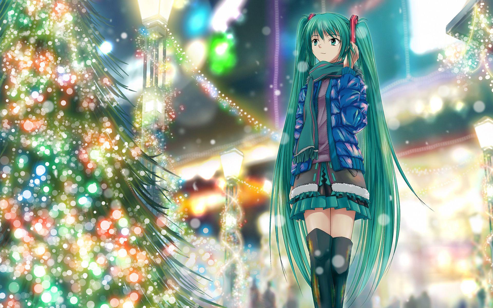 Anime Girl Christmas Tree Hdwallpaperfx Pinterest Anime