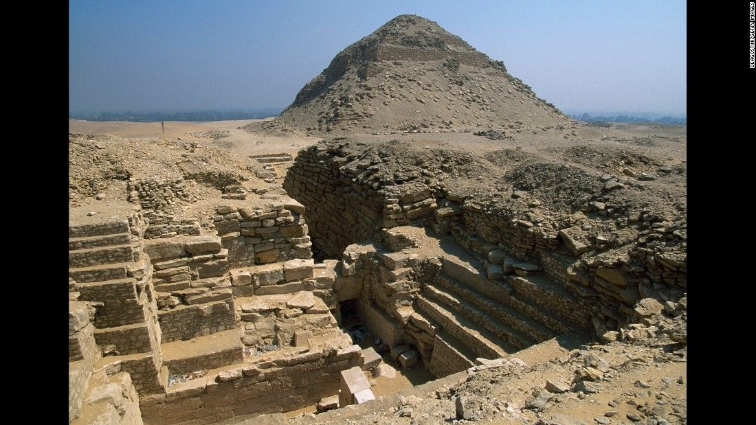 The unfinished pyramid of Pharaoh Neferefre can be seen in Abusir, Egypt.