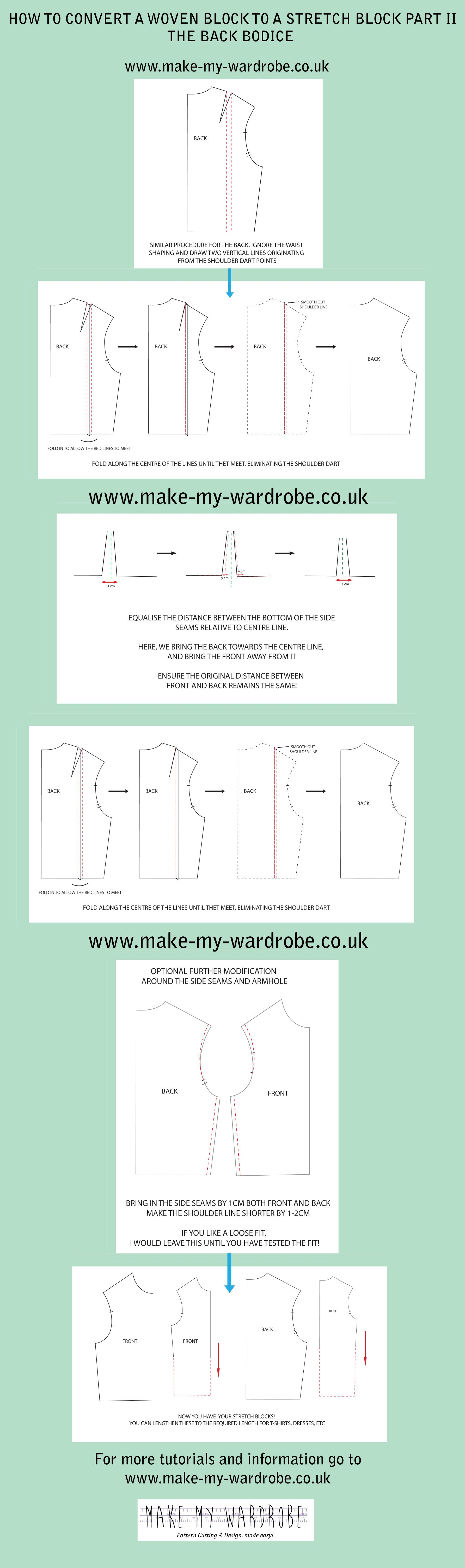 Dart shirt design your own - How To Convert A Woven Pattern Block For Stretch Fabrics The Back Bodice For