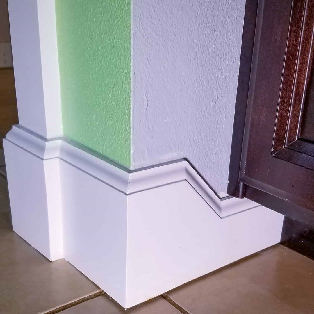 Baseboard Angle Drop Transition Under Kitchen Cabinets Trim Carpentry Wall Trim Trim Carpentry Wall Frames