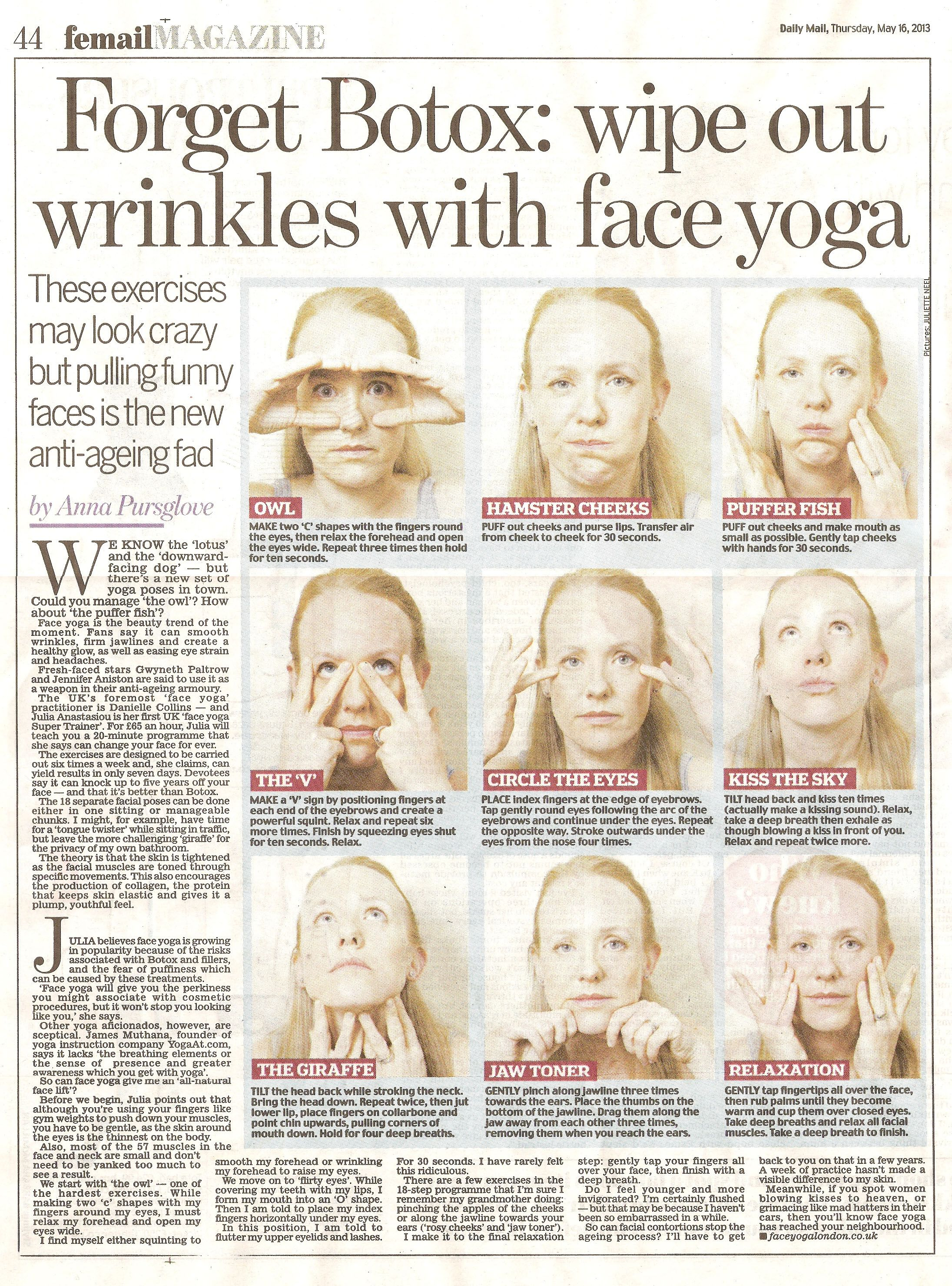 Wipe out wrinkles with face yoga!   Face yoga, Facial yoga