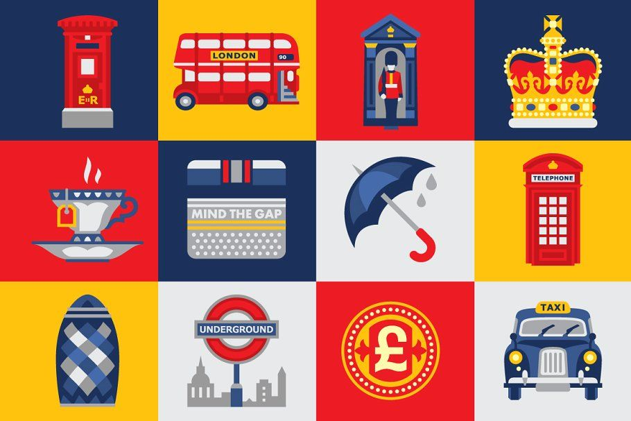 London, Great Britain Kingdom in 2020 London icons