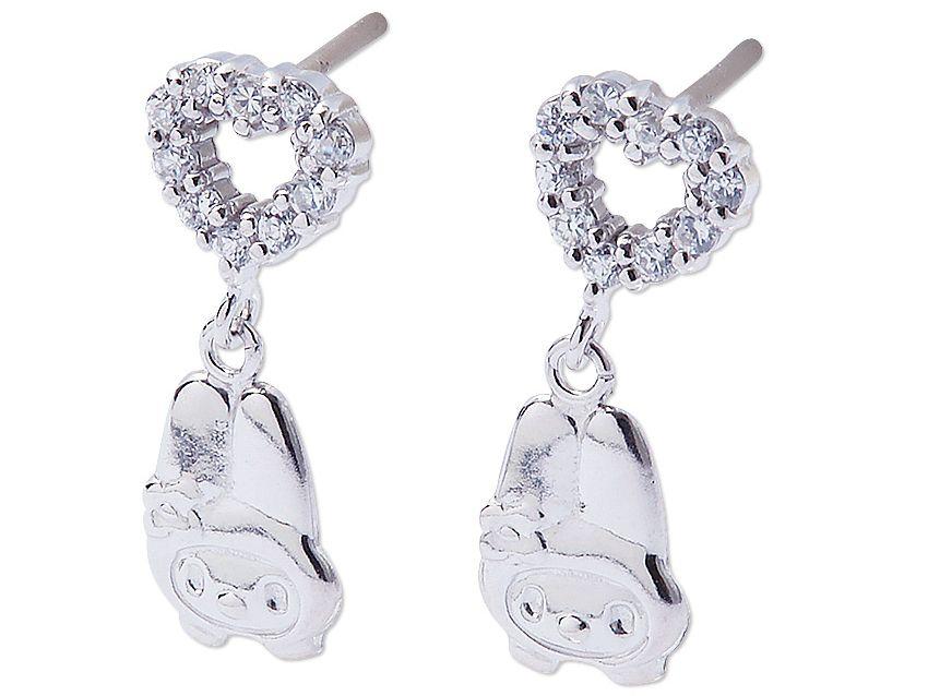 My Melody Heart-Shaped Pierced Earrings Silver Rhinestone SANRIO JAPAN