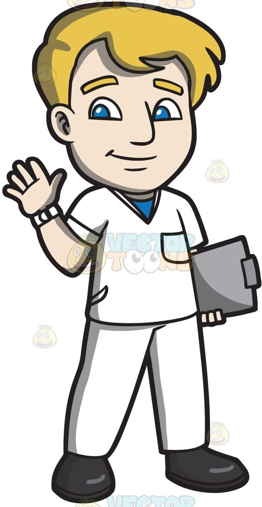 A Warm And Friendly Male Staff Nurse White Watch Men With Blonde Hair Friendly