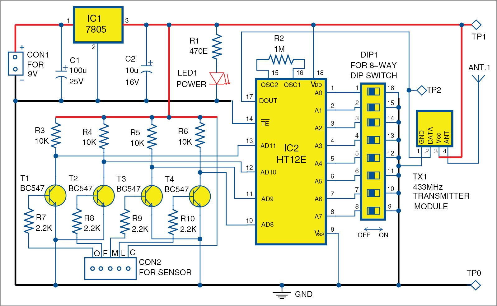 Wireless Water Level Indicator Without Microcontroller Controller Circuit Using Transistors And Ne555 Timer Ic