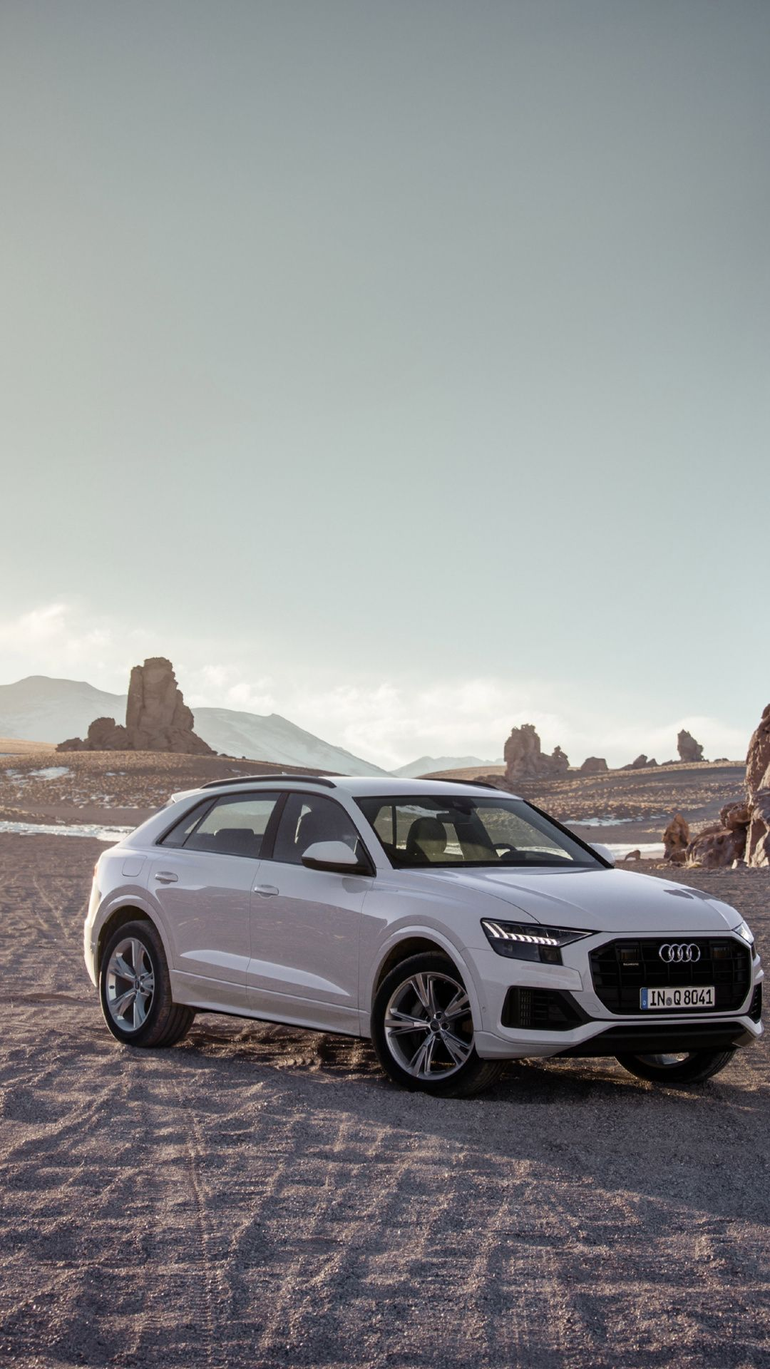Off Road White Audi Q8 Compact Suv 1080x1920 Wallpaper With