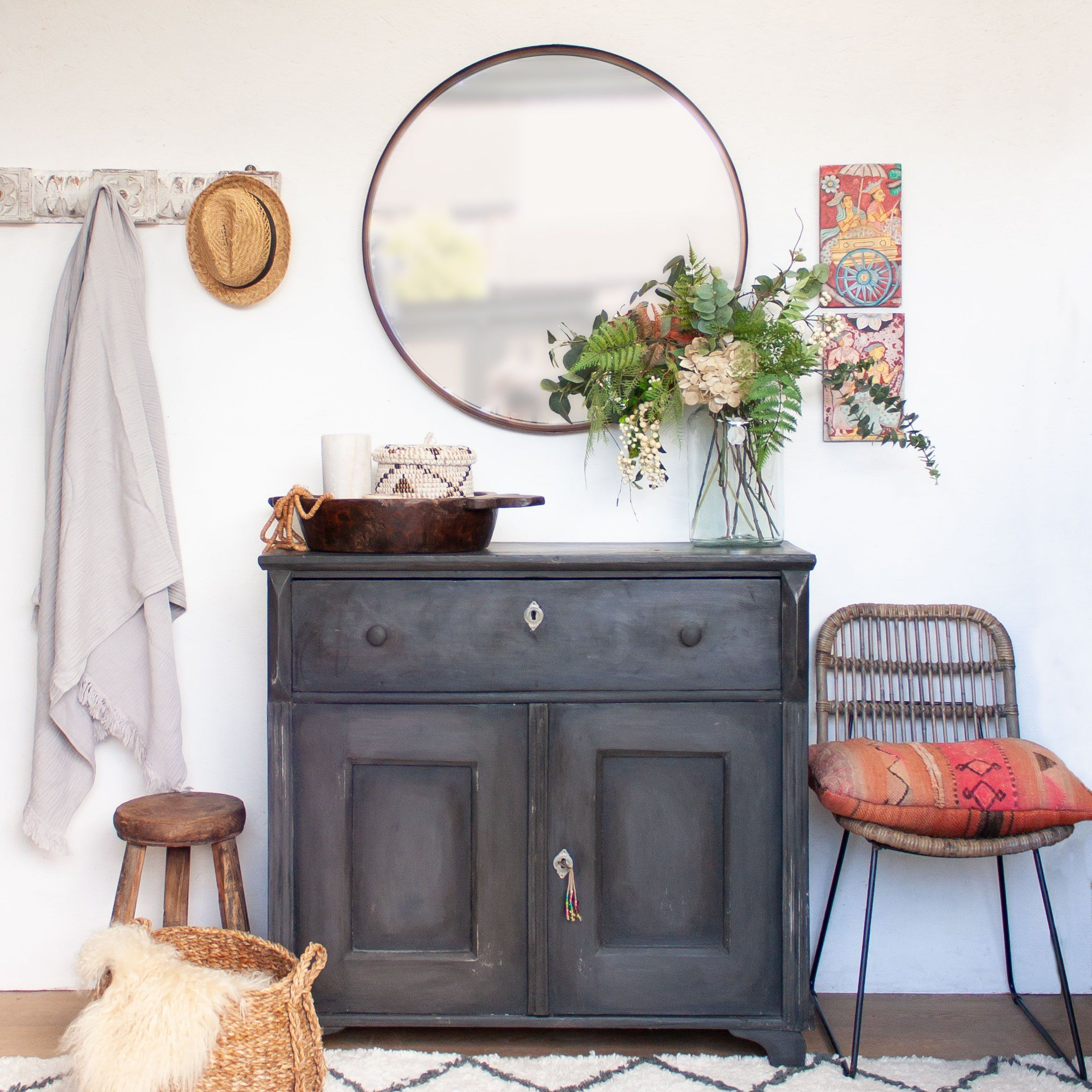 Photo of Vintage Black Wooden Cupboard