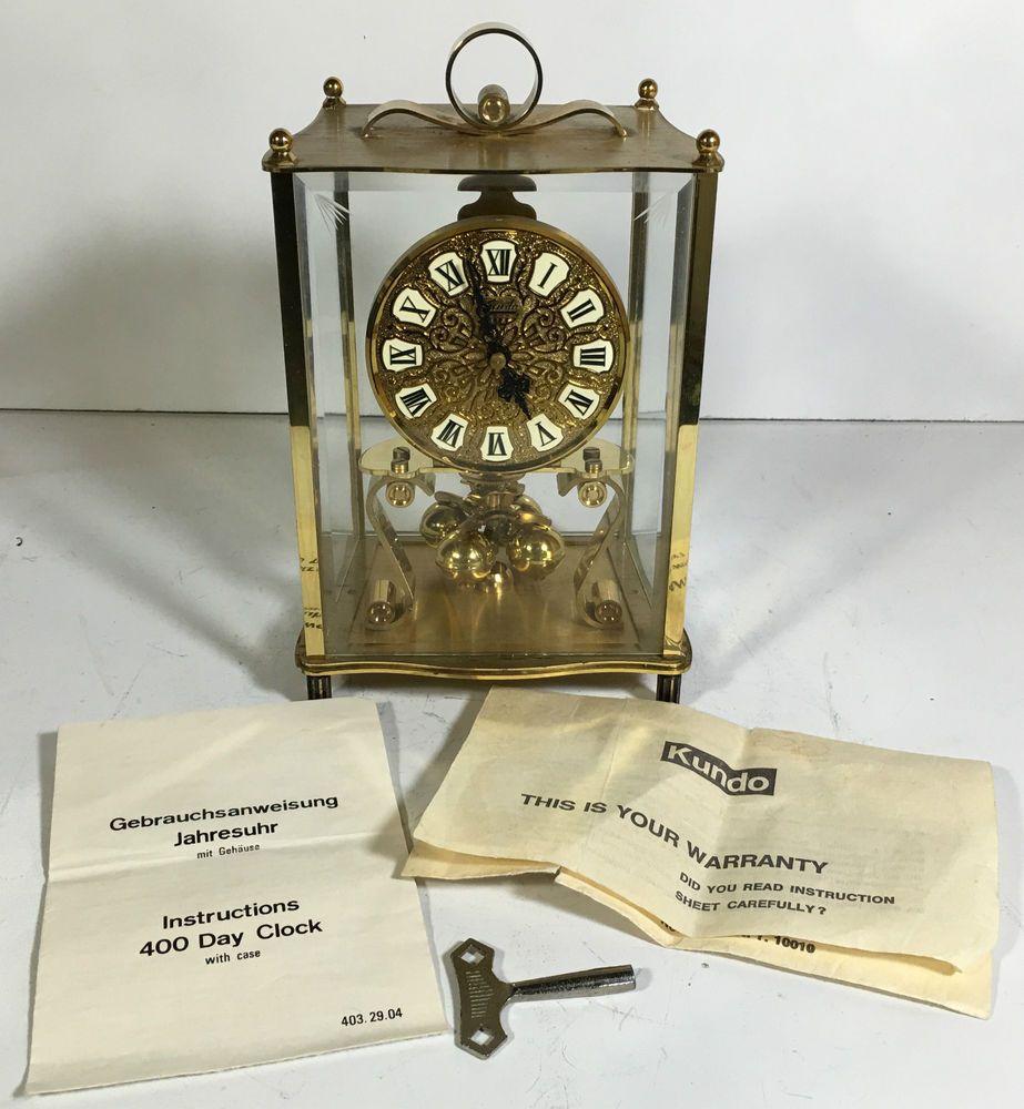 b62318e9192 Vintage Kundo Kieninger Obergfell 400 Day Anniversary Clock Germany Key  Manual