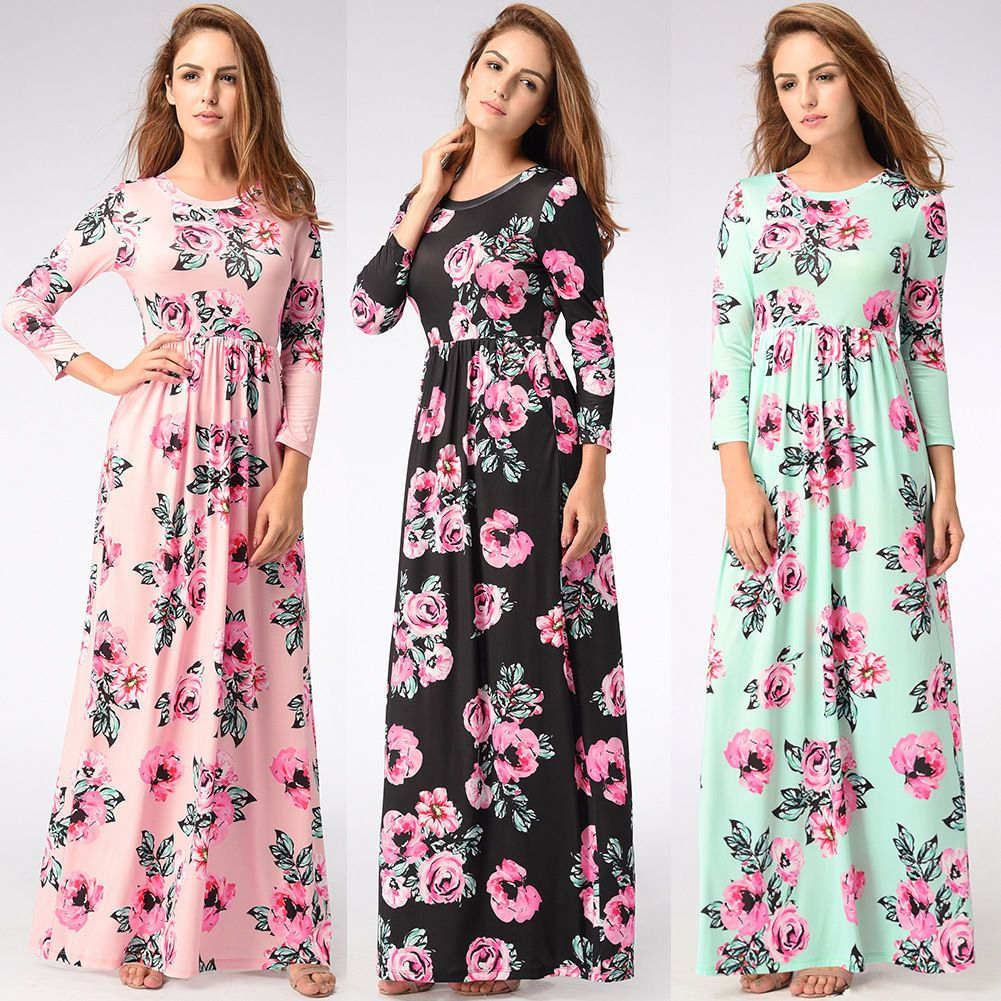 Womens floral long maxi dress long sleeve evening party summer beach