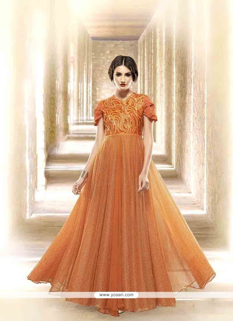 d3262c004a1 Miraculous Orange Embroidered Work Designer Gown Model  YOGO358. Picture of  Harmonious Orange Designer Party Wear Gown Indian ...