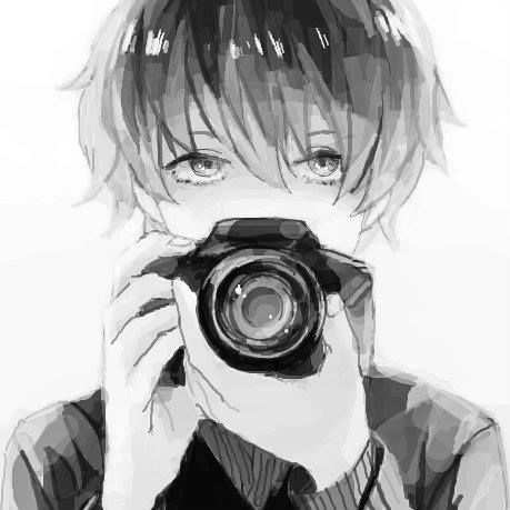 Anime Boy W Camera His Eyes Are Very Beautiful And I Like The Soft Muted Colors Lines Too He Likes Photography