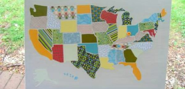 Scrapbook Paper Map Quilt. A pretty way to learn the States! Add a ...