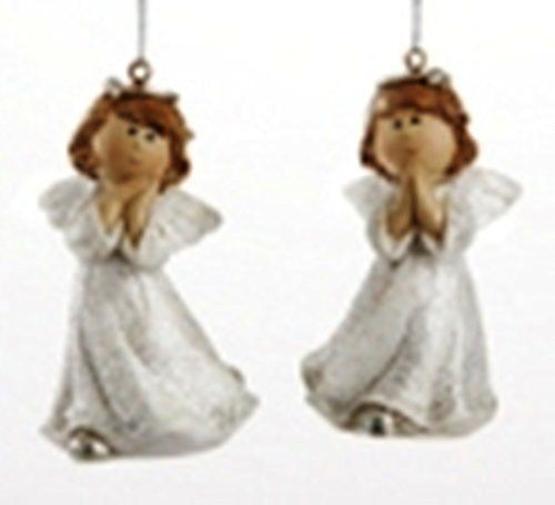 Delton Products White Glittered Angel Ornament, Set of 2 – PerfectlyFestive.com