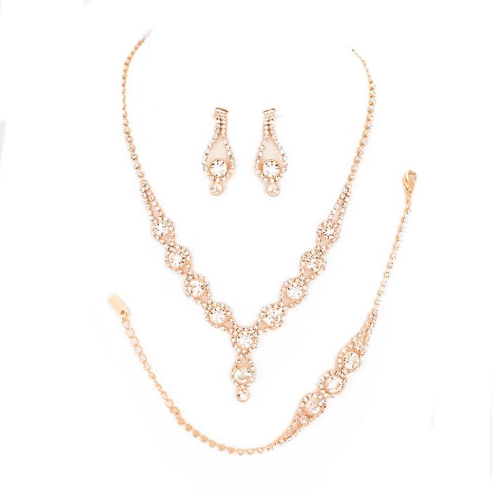 Rose gold bubble rhinestone pcs bracelet earrings necklace set