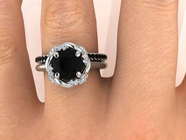 Wedding and Engagement Ring Set, Black Diamond Bridal Rings Set, Bohemian rings. - Engagement Rings