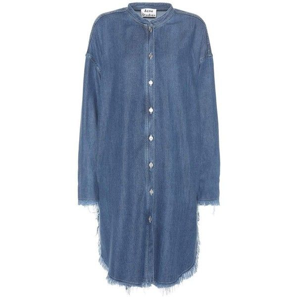 Acne Studios Gracie Denim Shirt Dress (1.160 BRL) ❤ liked on Polyvore featuring dresses, blue, blue shirt dress, t-shirt dresses, blue denim dress, shirt dress and denim shirt dress