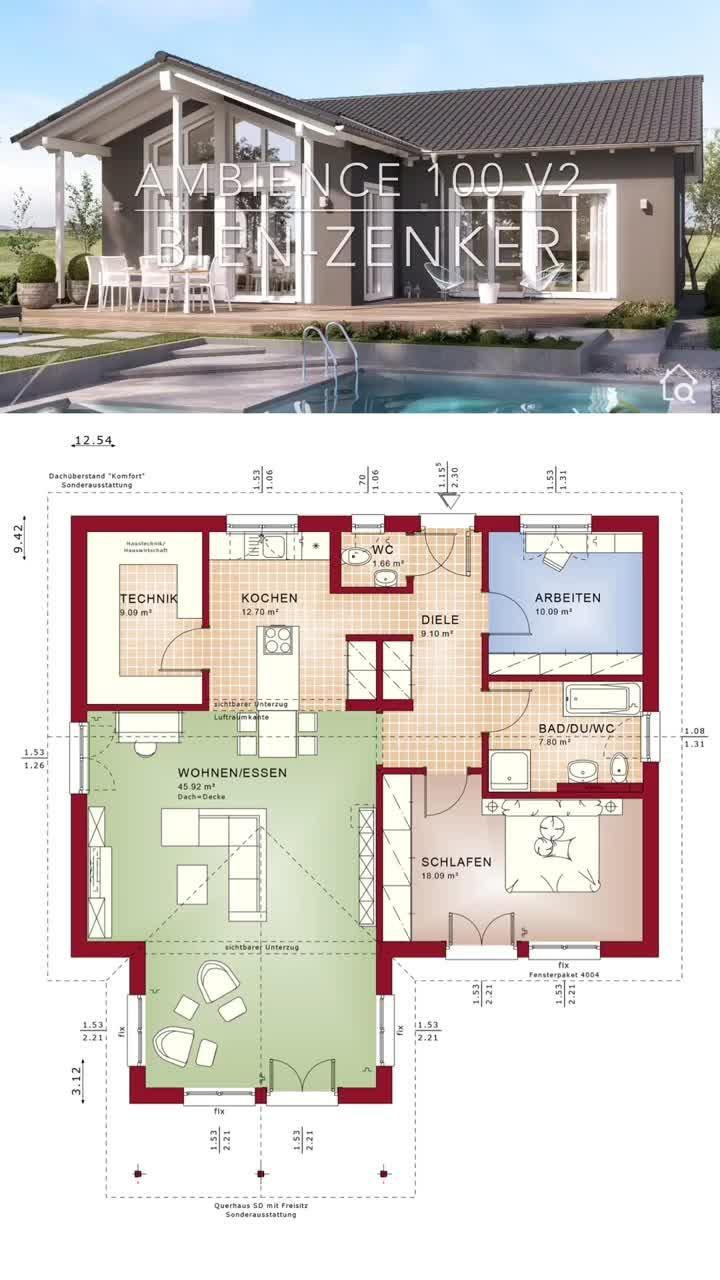 Bungalow Haus Grundriss modern mit Satteldach & Erker im Landhausstil bauen Fertighaus Ideen