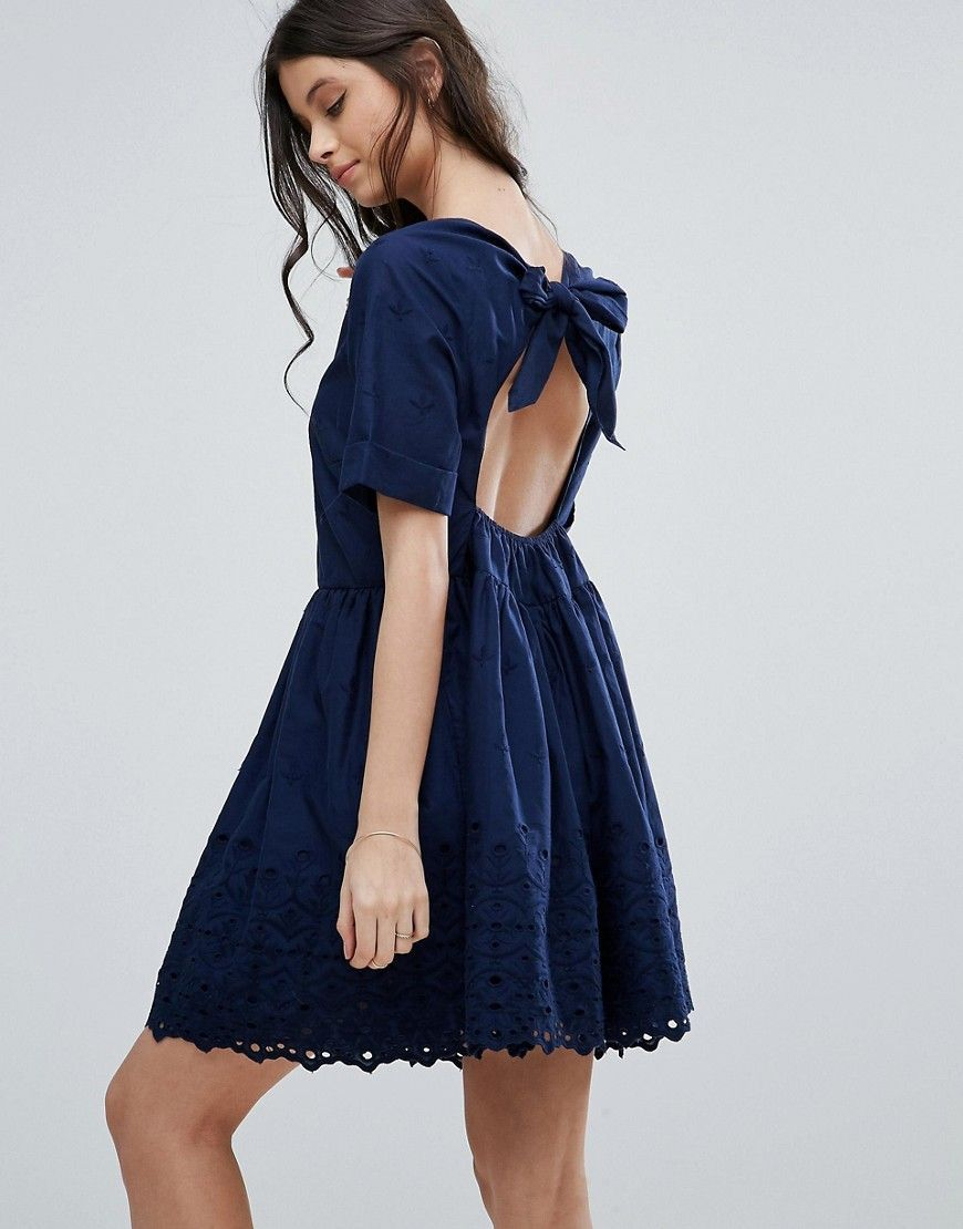 Asos petite broderie smock dress with open back detail navy