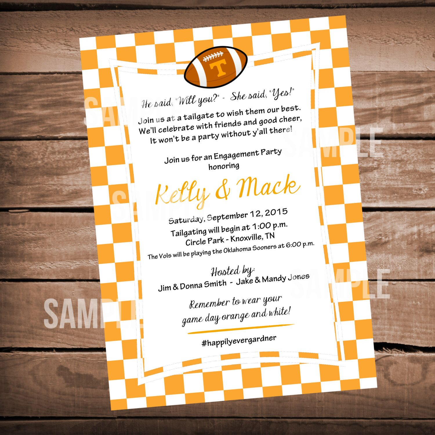 Tennessee Vols Football Bridal Shower Invitation Tailgate Party ...