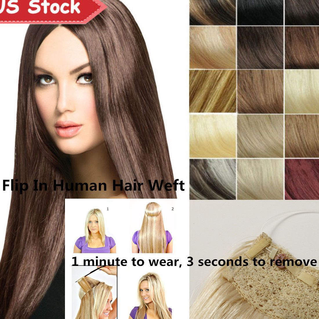 100g 16 18 20 Hidden Halo Human Hair Extensions Invisible Wire