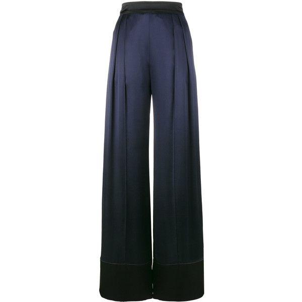Pantalon De Satin Jambe Large - Bleu Michael Lo Sordo foexyi1UV9
