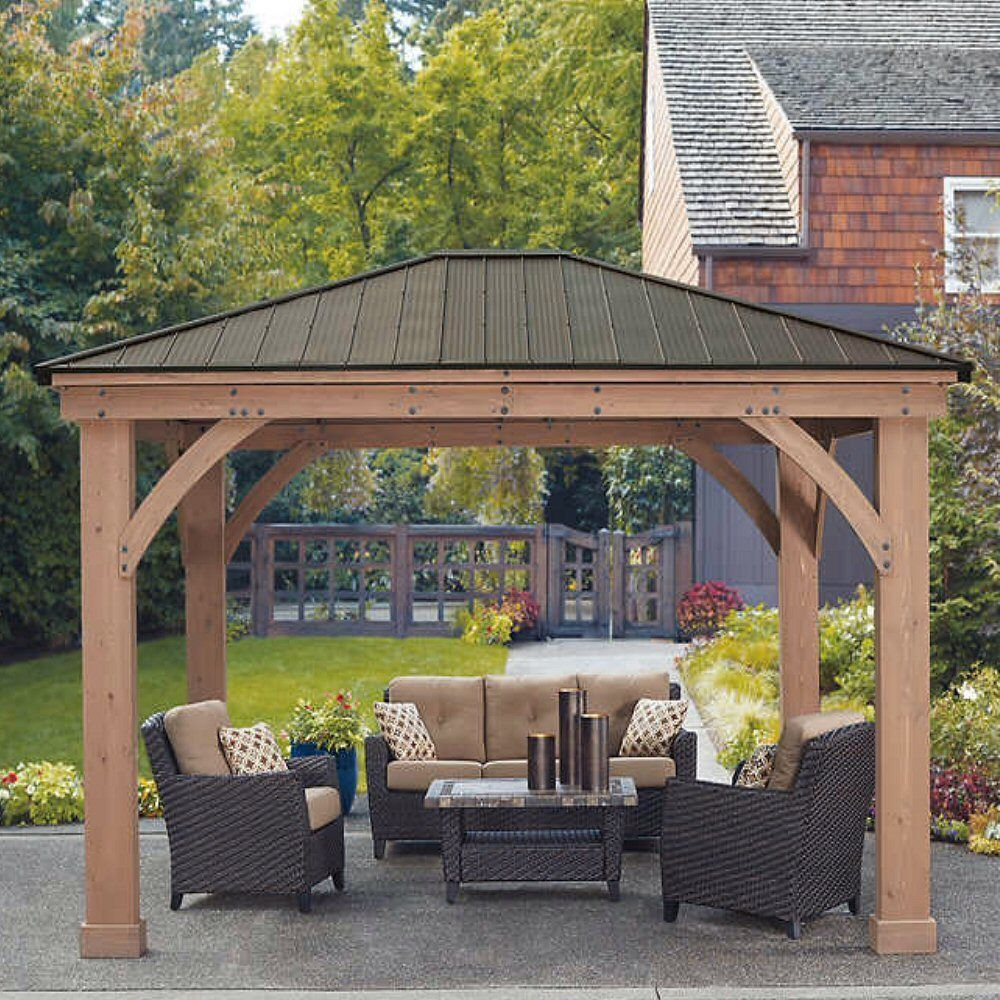 Yardistry 12 X 14 Cedar Gazebo With Aluminum Roof No Tax Outdoor Pergola Patio Gazebo Pergola Patio
