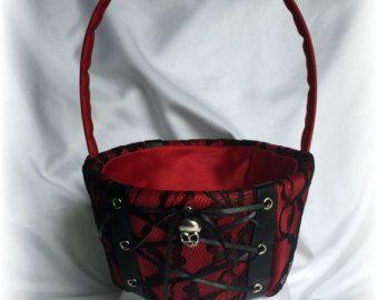 The Romona Goth Wedding Gothic Wedding Flower Girl Basket in Black with Dark Red