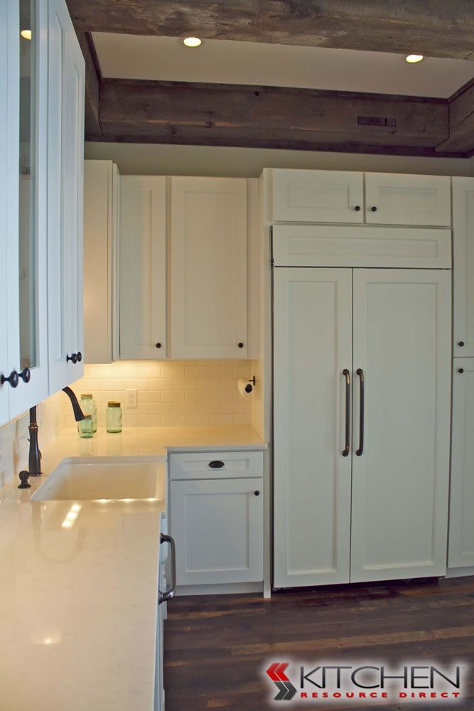 Shaker Panels On Refrigerator Match Cabinets Deerfield Assembled Cabinets In Shaker Ii