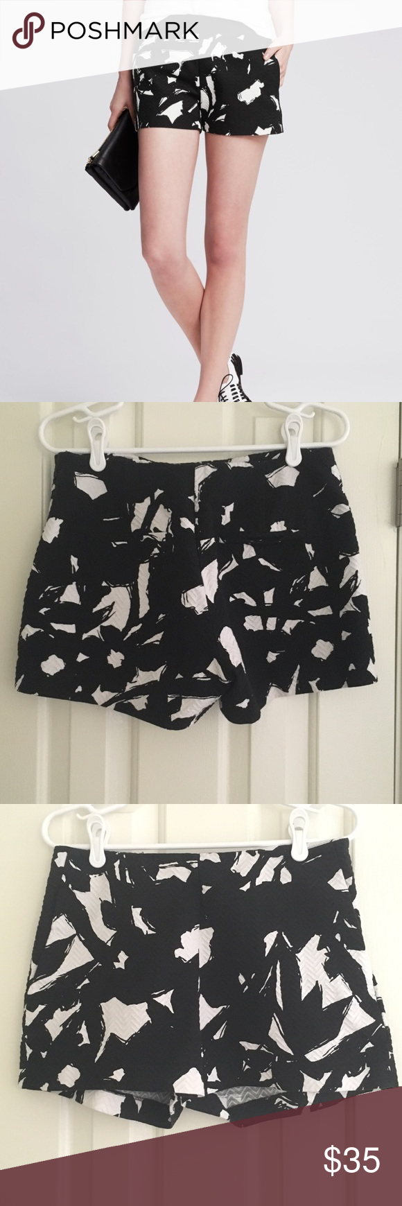 Banana Republic Floral Jacquard Short | Black | 10 Like new and comes from a smoke free home!! Description: Zip fly with hook-and-bar closure. Front off-seam pockets. Rear welt pockets. 100% Cotton. Dry clean. Color: Black Banana Republic Shorts