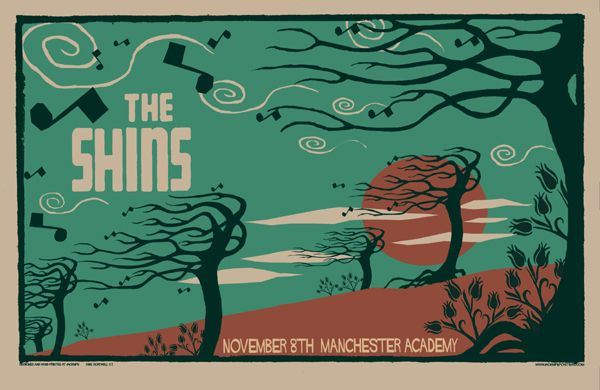 Chris Hopewell's poster for The Shins at Manchester Academy on 8th November 2007