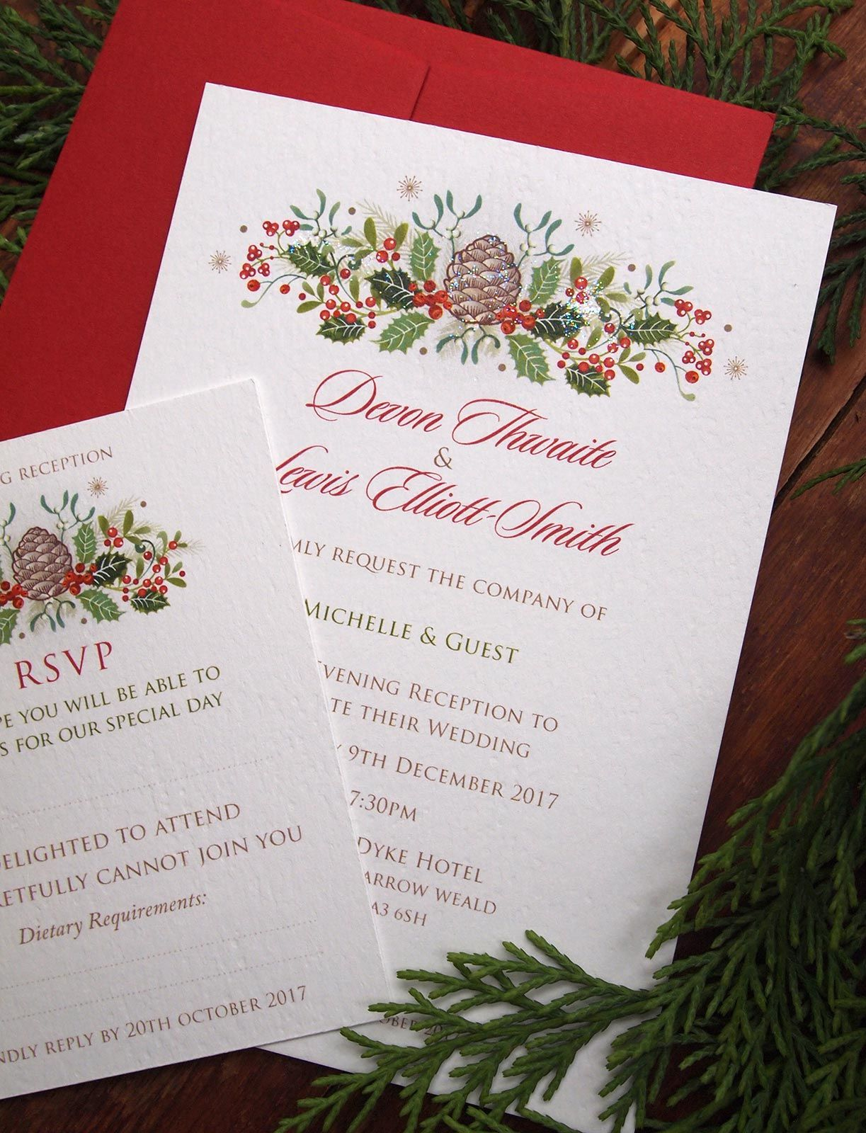 Holly Berries - Christmas themed wedding invitations | Paper ...
