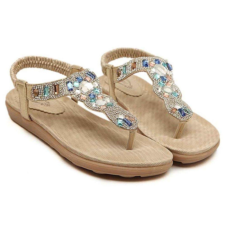 a93552e180b6b8 Womail Summer Bohemian Atificial Gem Clip Toe Sandals Beach Shoes for Ladies      Want · Flip Flop ...