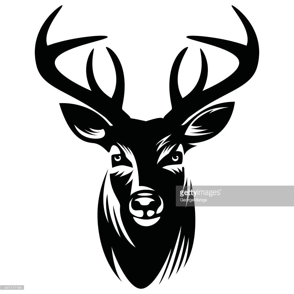 Vector Illustration Deer Head Silhouette Deer Vector Silhouette Vector