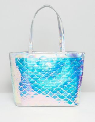 337cf4266d89 Skinnydip Iridescent Scale Sequin Tote Bag Holographic Fashion, Holographic  Bag, Mode Online, Mermaid
