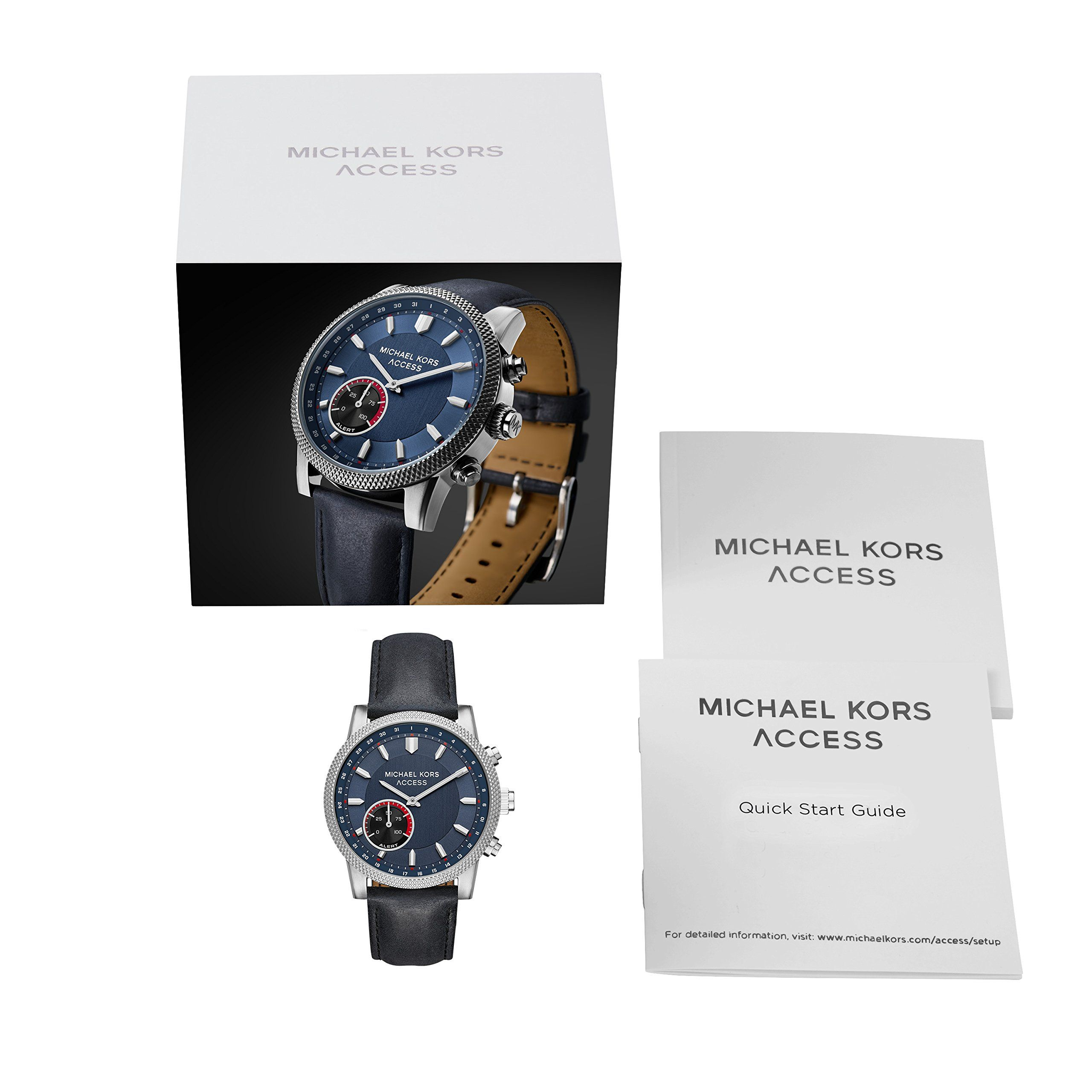 6b6483b9b068 Michael Kors Access Mens Hutton Hybrid Smartwatch Quartz Stainless Steel  and Leather Casual Watch Color Black