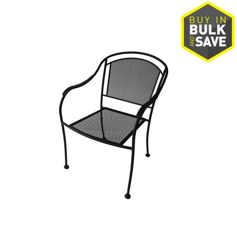 0cec5254d0a3 Garden Treasures Davenport Black Steel Mesh Stackable Barrel Patio Dining  Chair