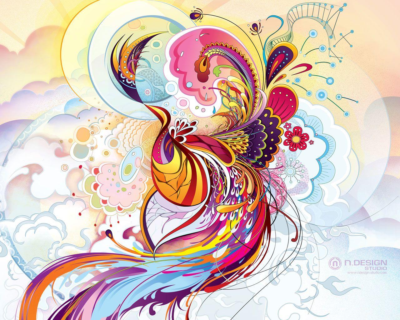 Abstract Peacock Bird Art Wallpaper By N Design