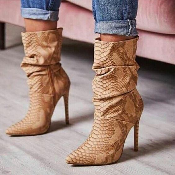 c10192efa09 Sestito 2018 Women Sexy Snakeskin Print High Heels Ankle Boots ...