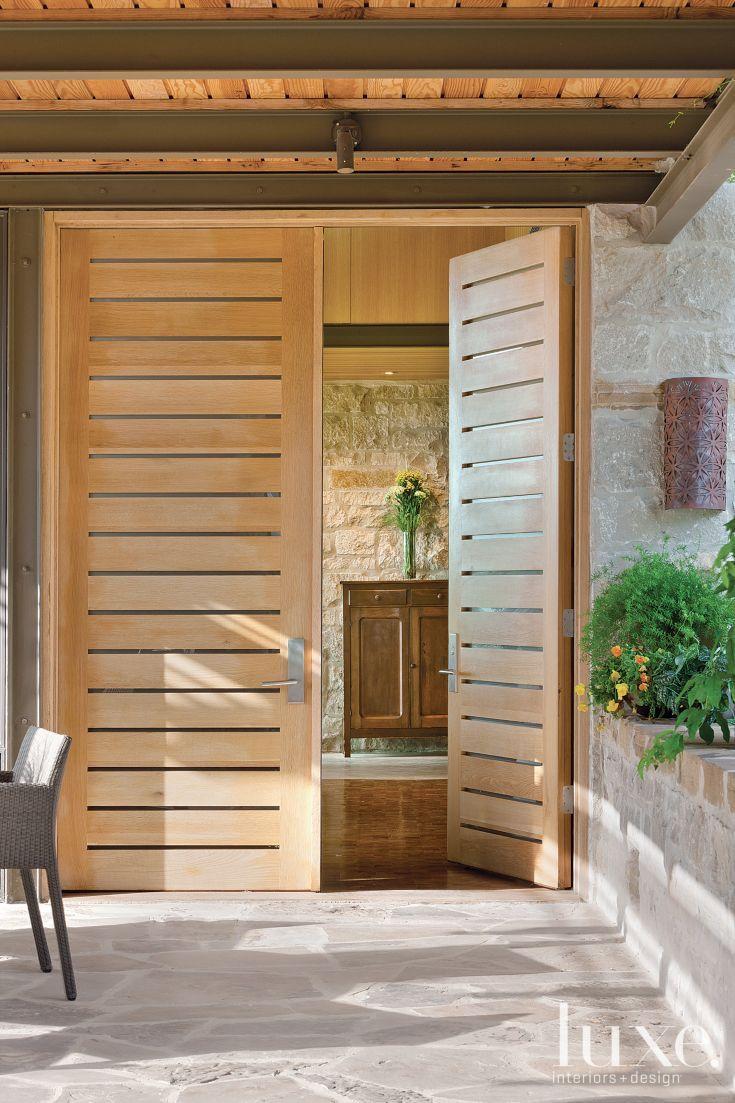 Slatted Rift Sawn Wood And Glass Door Windows Amp Doors